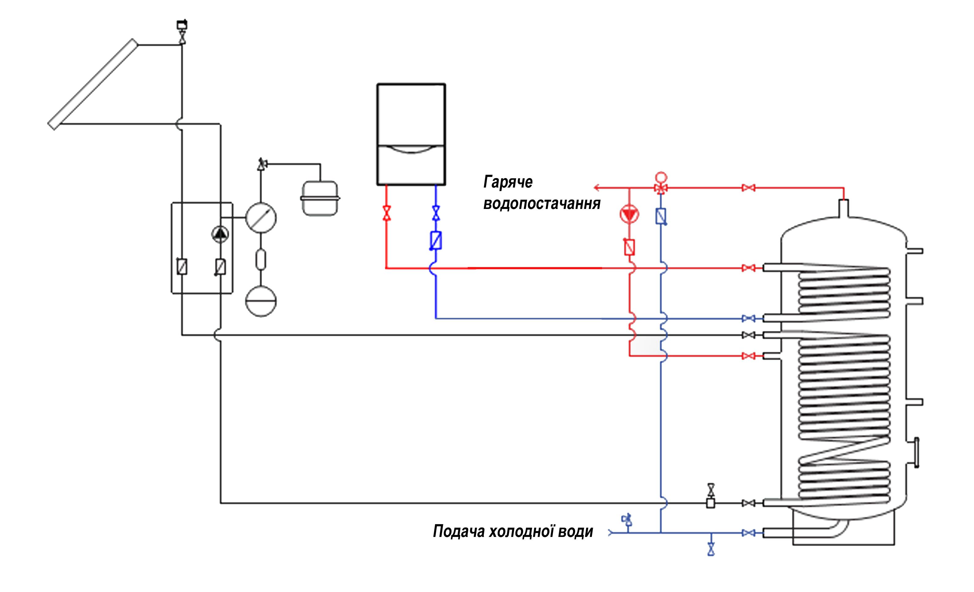 Схема накопительный бак холодной воды